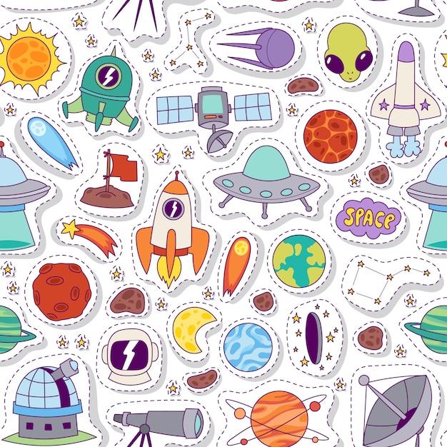 Астрономия космический бесшовные модели. Premium векторы