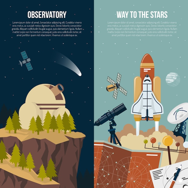 Astronomy vertical banners Free Vector
