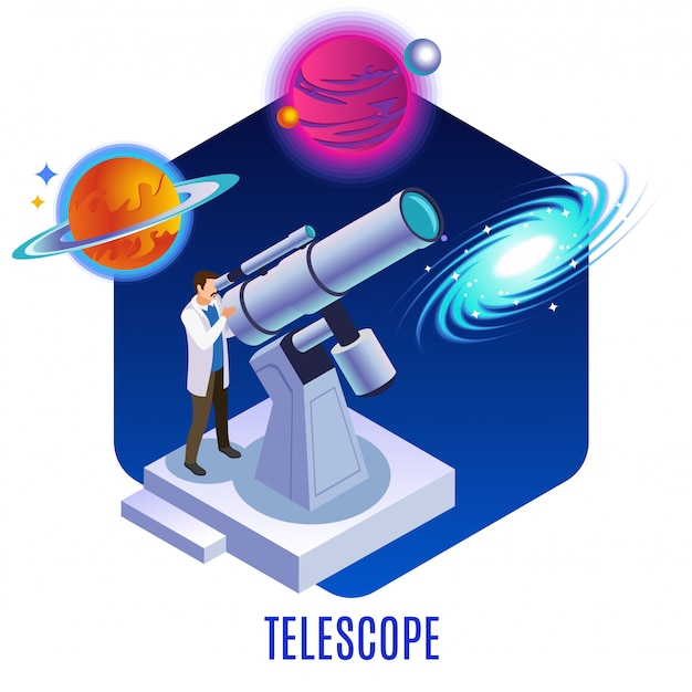 Astrophysics isometric background composition with astronomer observing colorful planets galaxy celestial bodies  with optical telescope  illustration Free Vector