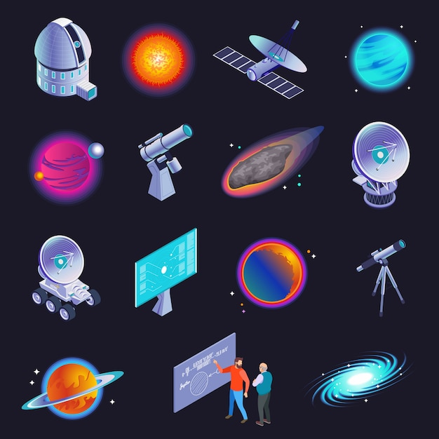 Astrophysics isometric icons with radio telescope spiral galaxy stars planets comet scientists formula black background  illustration Free Vector