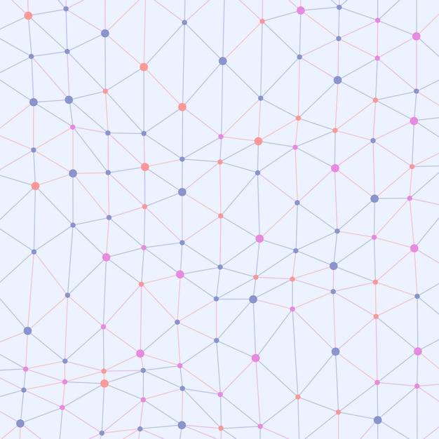Asymmetrical connected dots colored background Premium Vector