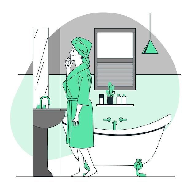 На иллюстрации концепции ванной комнаты Бесплатные векторы