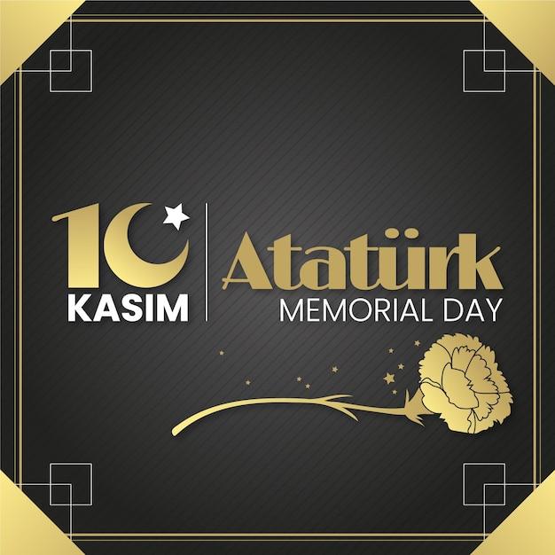 Ataturk memorial day nei toni del nero e dell'oro Vettore gratuito