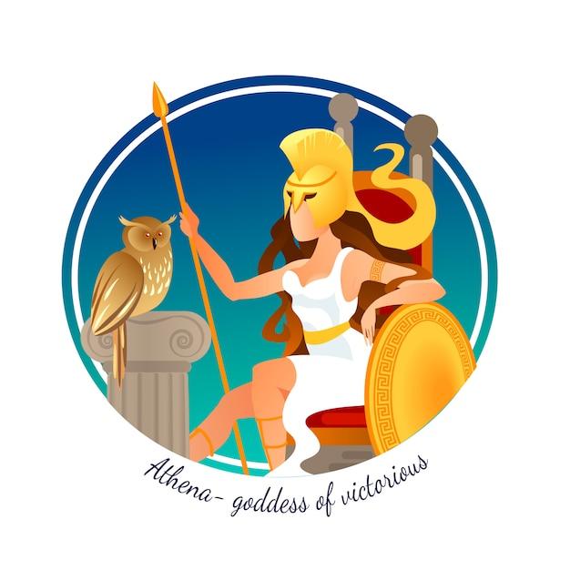 Athena greek goddess of victorious war and wisdom. Premium Vector