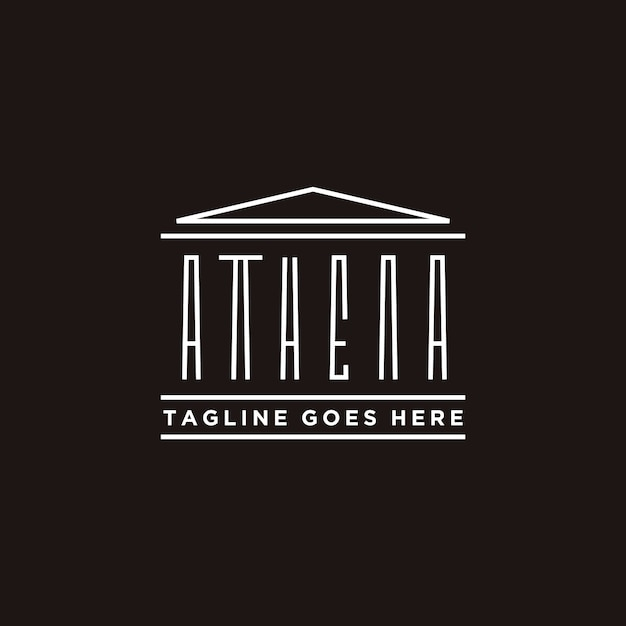 Athena typography with greek historical building logo design Premium Vector