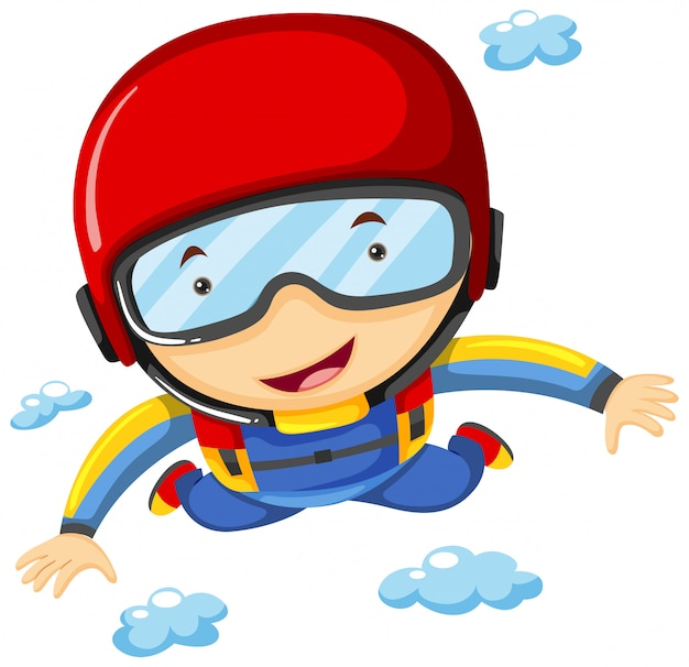 Athlete doing sky diving alone Free Vector