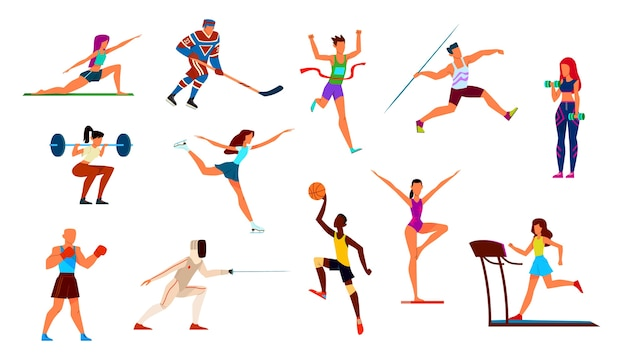 Набор спортсменов. гимнастка и бегун, боксер и фигурист, баскетболист и хоккеист. Premium векторы