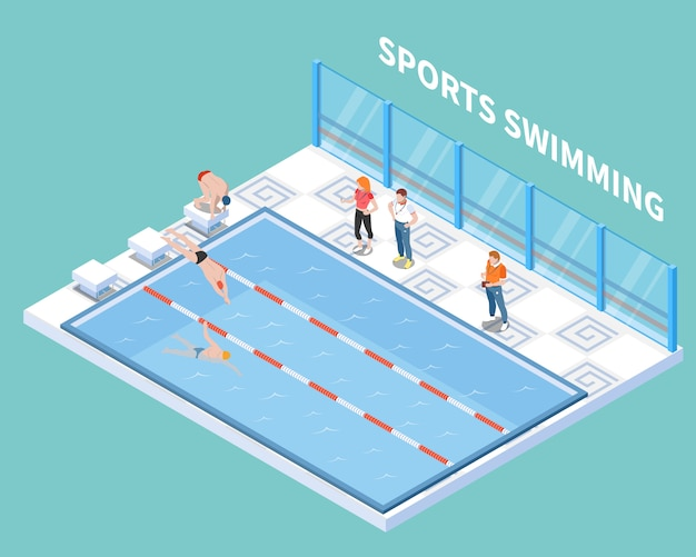 Athletes and trainers during sports swimming workout in public pool isometric composition on turquoise Free Vector