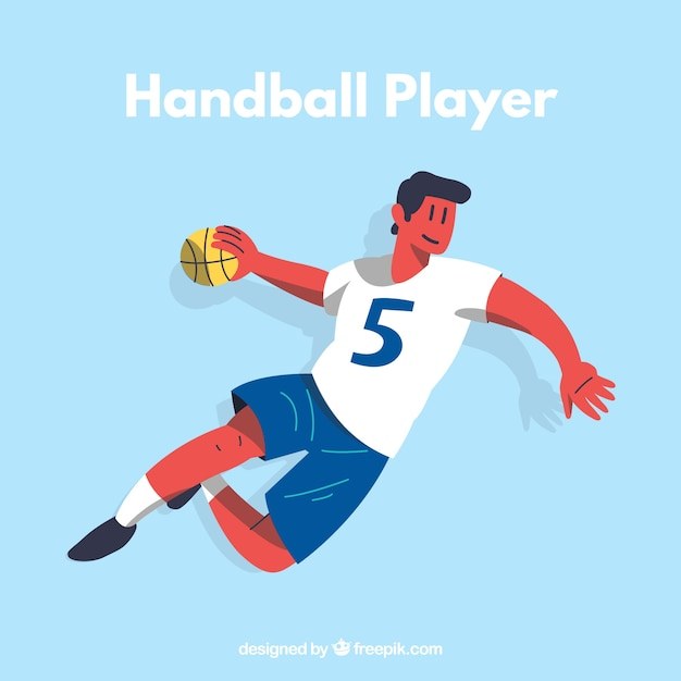 Athletic handball player with flat\ design