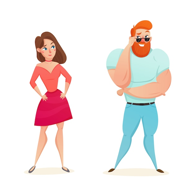 Athletic macho flirting with young girl Free Vector