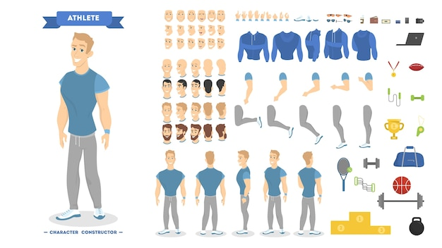 Athletic man character set for animation with various views, hairstyles, emotions, poses and gestur