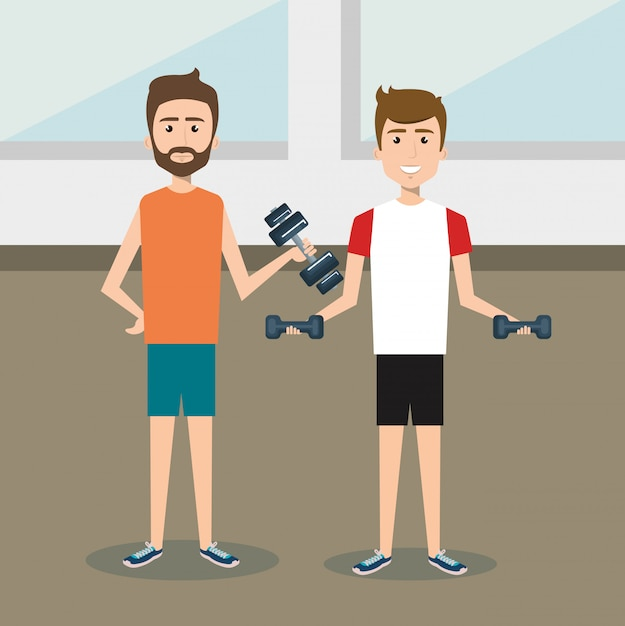 Athletic people practicing exercise characters Free Vector