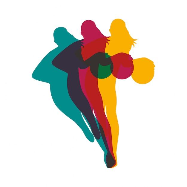 농구 스포츠 실루엣 벡터 일러스트 디자인을 연습하는 운동 여자 프리미엄 벡터