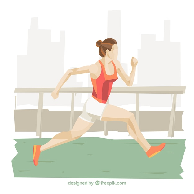 Athletic woman running