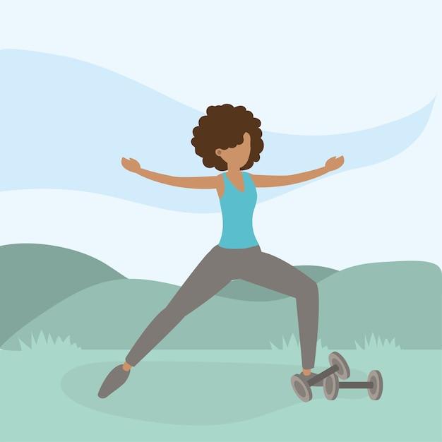 Athletic woman training exercise activity Premium Vector