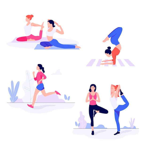 Premium Vector Athletic Young Women Working Out Doing Fitness Exercise More than a million free vectors, psd, photos and free icons. https www freepik com profile preagreement getstarted 7113022