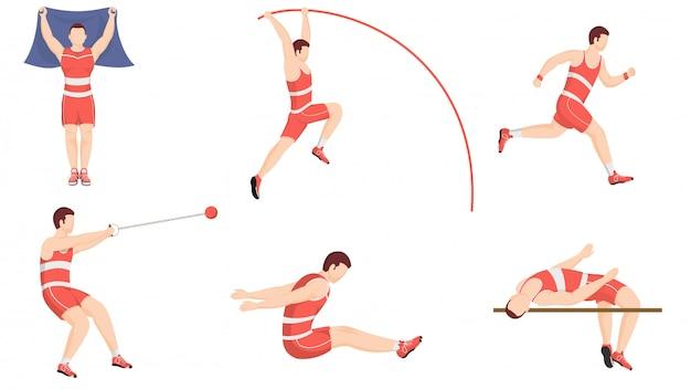 Легкая атлетика, упражнения или легкая атлетика в разных позах. Premium векторы