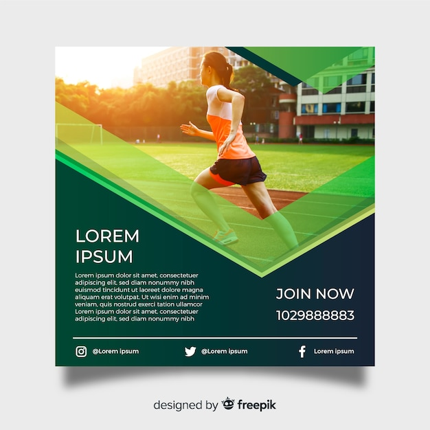 Athletism poster template with photo Free Vector