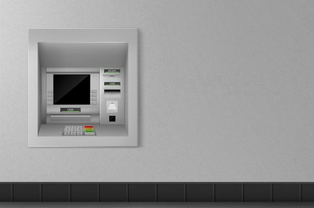 Atm automated teller machine on grey wall. banking Free Vector