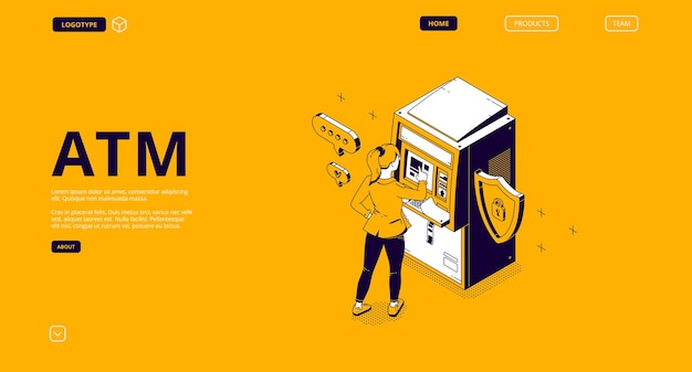 Atm, automated teller machine isometric landing page Free Vector