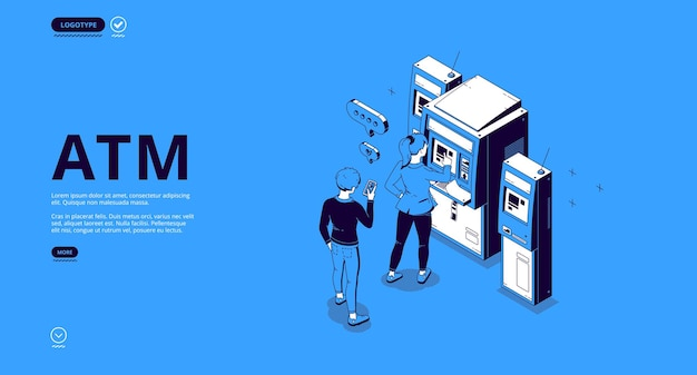 Atm banner. automated teller machine, terminal for withdraw money cash, transactions and payments. Free Vector