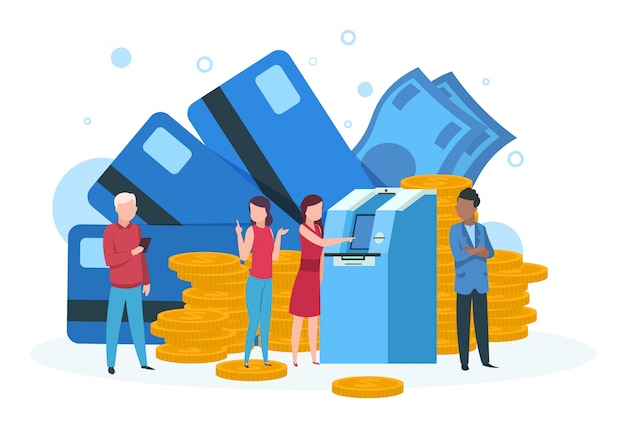 Atm business . customers with credit card withdrawal money standing in line at bank atm landing page Premium Vector