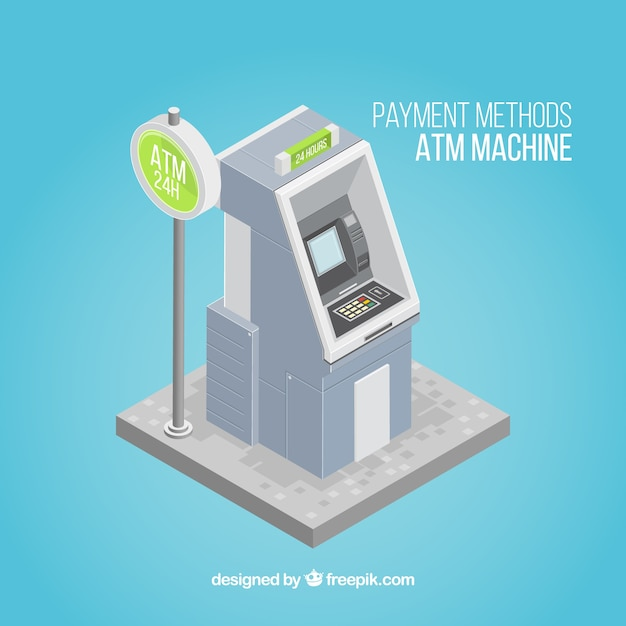 Atm machine with isometric perspective Free Vector