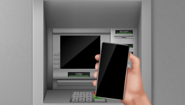 Atm and mobile phone in hand. Free Vector