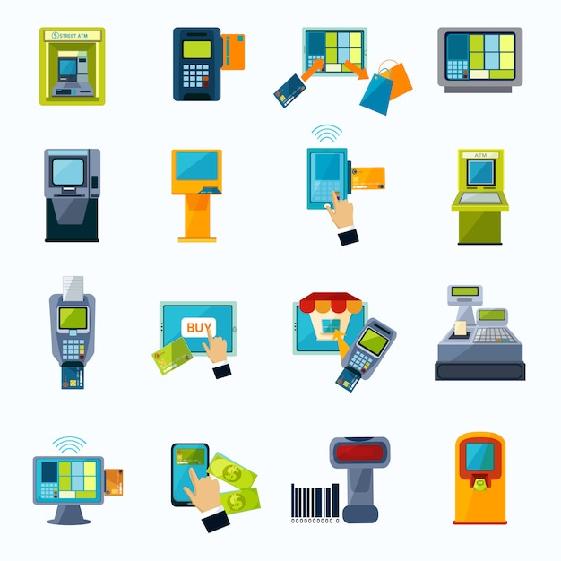 Atm payment flat icons set Free Vector
