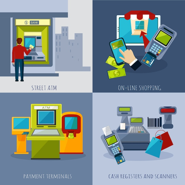 Atm payment set Free Vector
