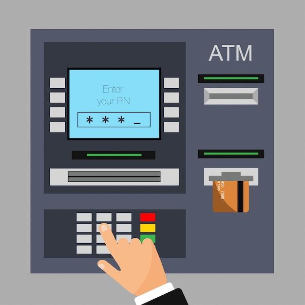 クレジットカードでのatmマシンのフラットなデザイン。 pinを入力しました。 Premiumベクター