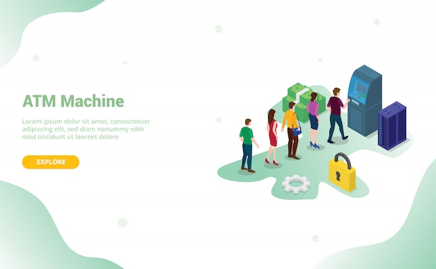 Atm queue concept with people men and woman queueing witdraw cash money for website template or landing homepage with modern flat style and isometric 3d Premium Vector