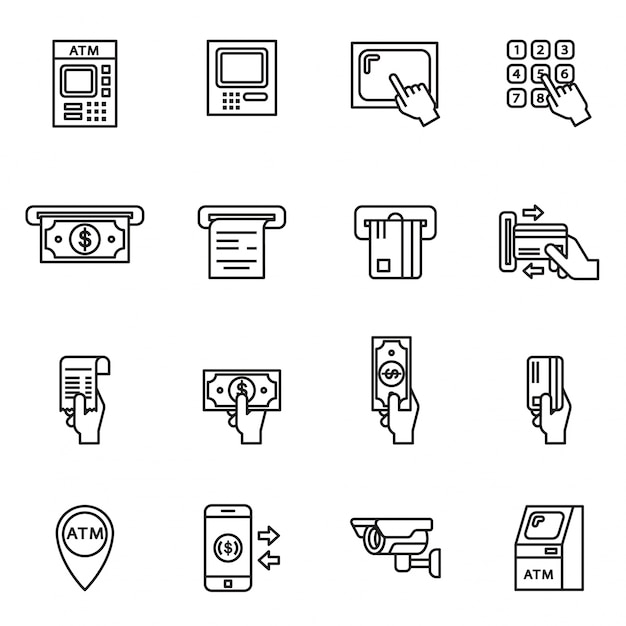 Atm related icons set Premium Vector
