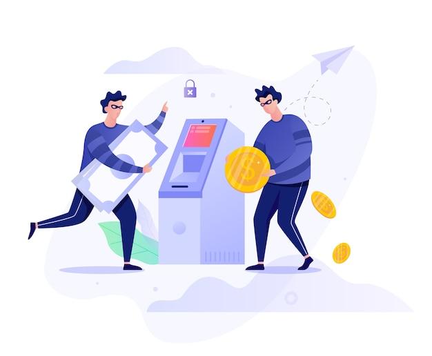 Atm強盗のコンセプトです。お金を盗む犯人 Premiumベクター