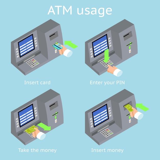 Atm端末の使用法。ターミナルを介した支払い。 atmカードからお金を得る。 無料ベクター