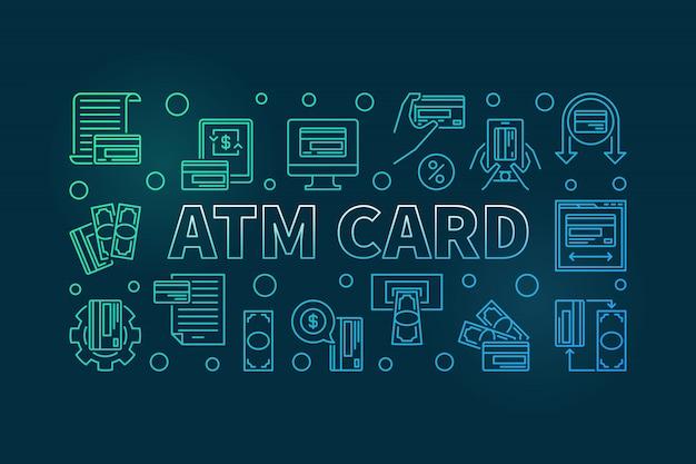 Atmカードの概要色付きの水平の背景色。 Premiumベクター