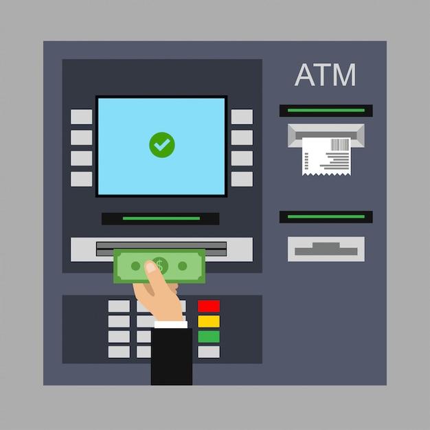 Atm、現金、クレジットカード、小切手のフラットなデザイン。 Premiumベクター