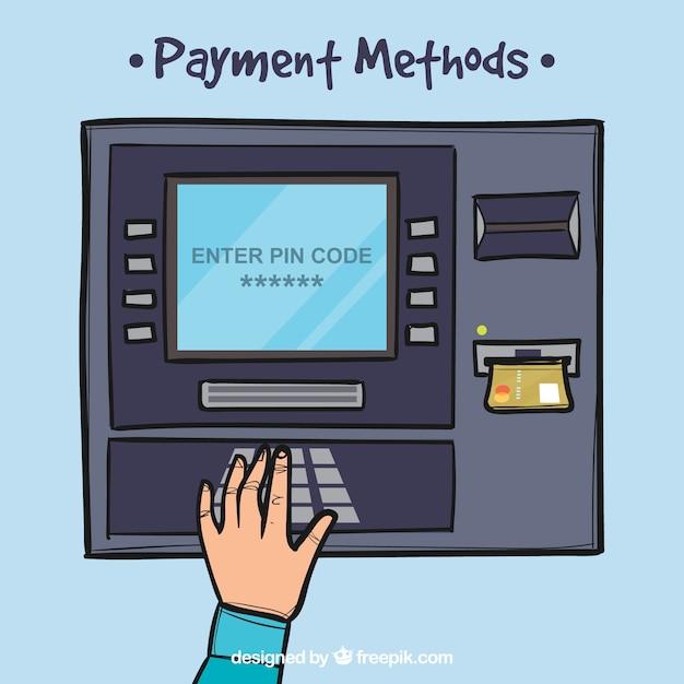 手描きのatmとクレジットカード 無料ベクター