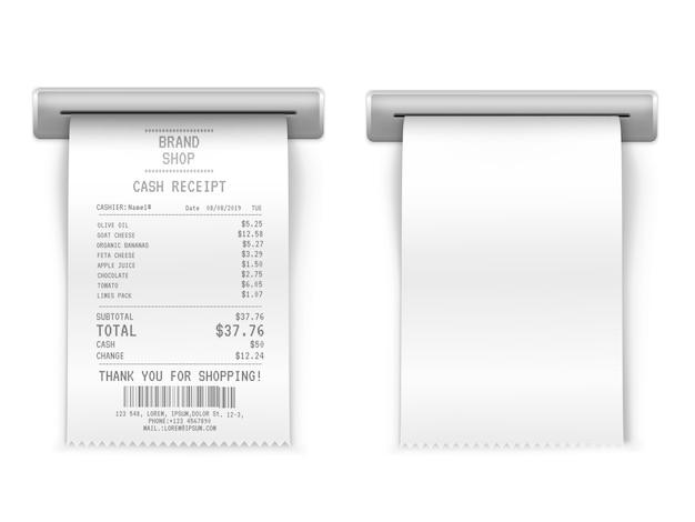 販売印刷レシート、ショッピングペーパー請求書atm Premiumベクター