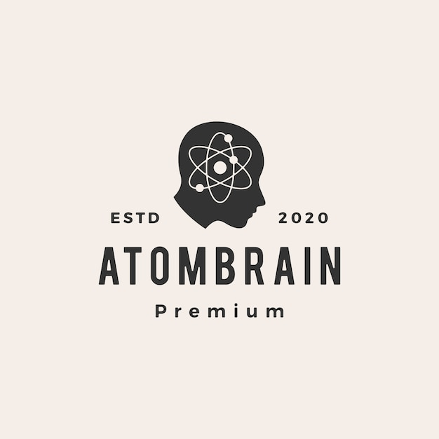 Atom brain head hipster vintage logo  icon illustration Premium Vector