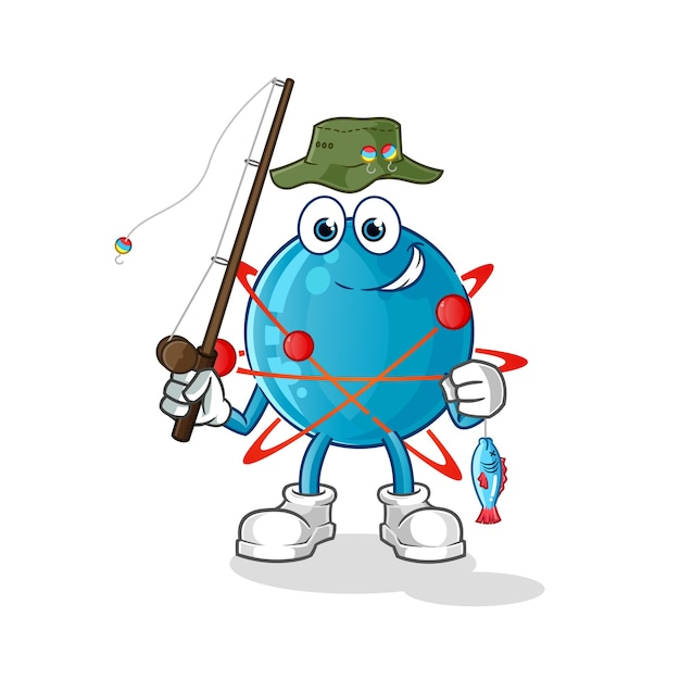 Атом рыбак иллюстрация Premium векторы