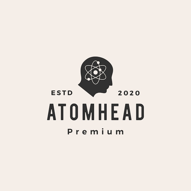 Atom head hipster vintage logo  icon illustration Premium Vector