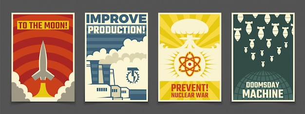 Atomic war military, peaceful space  vintage posters Premium Vector