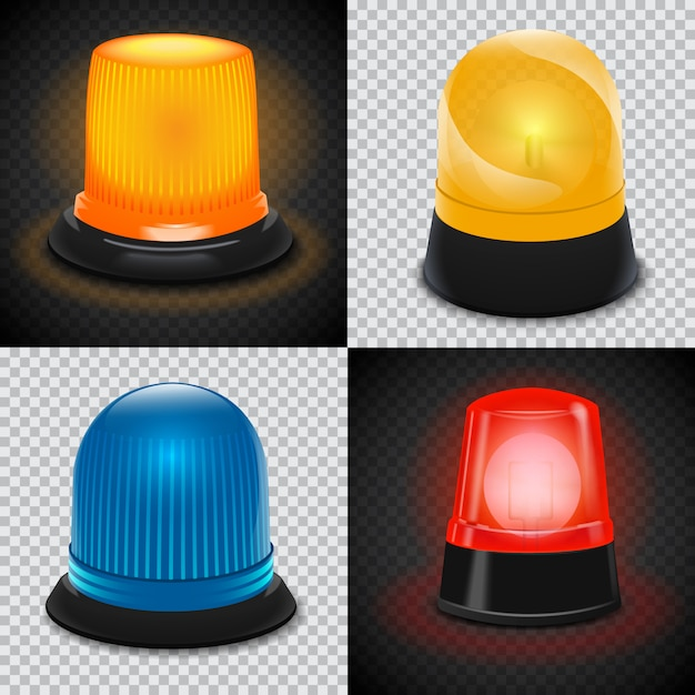 Attention flasher icon set Premium Vector