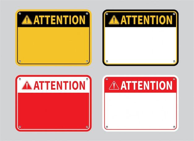 Attention sign set. Premium Vector