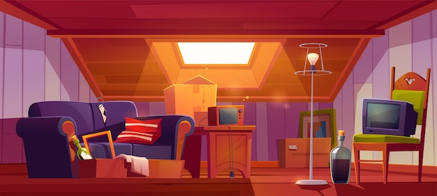 Attic room with old things, garret with roof window and furniture. discreet place with antique switched-off tv set, radio, carton boxes, wine bottle, table and floor lamp. cartoon illustration Free Vector