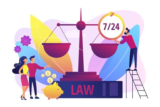 弁護士会社、法律コンサルティングおよびサポート。公証人のクライアント。法律サービス、弁護士紹介サービスは、専門的な法律扶助の概念を取得します。 無料ベクター