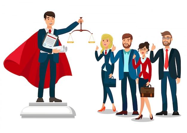 Attorney school graduate flat  illustration Premium Vector