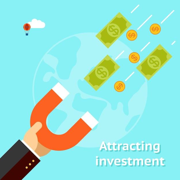 Концепция привлечения инвестиций. магнит доллара успеха бизнеса денег. Бесплатные векторы