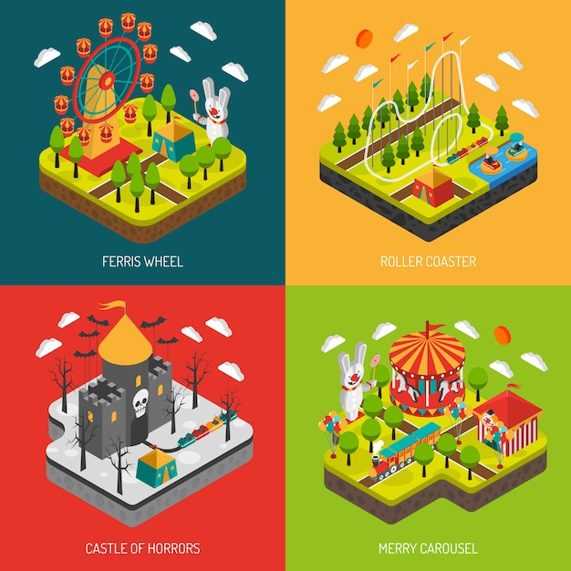 Attraction park 4 isometric icons square Free Vector